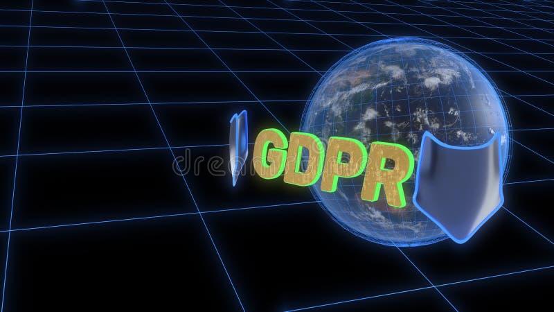 Fundo do conceito da segurança de GDPR, rendição 3d ilustração do vetor