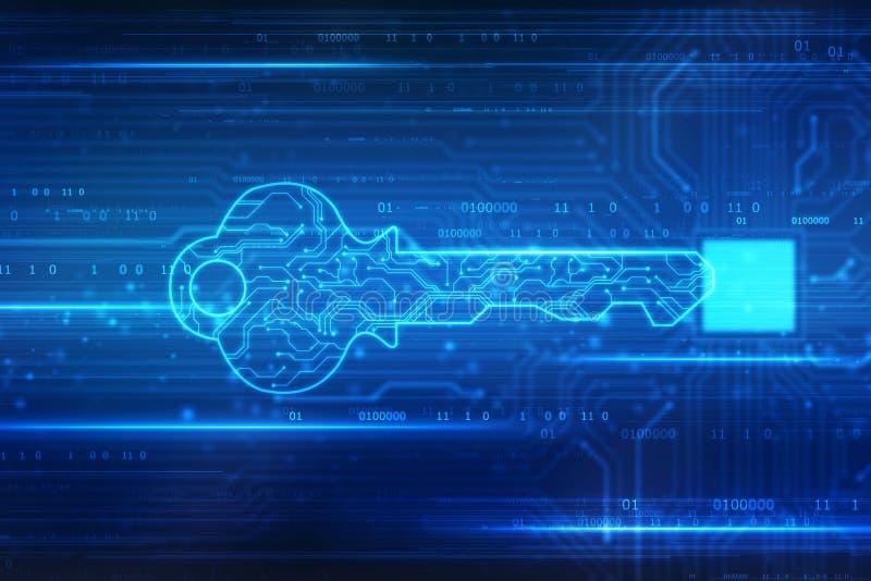 Fundo do conceito da seguran?a, conceito da seguran?a do cyber ou chave privada, chave digital abstrata no fundo da tecnologia, e ilustração royalty free