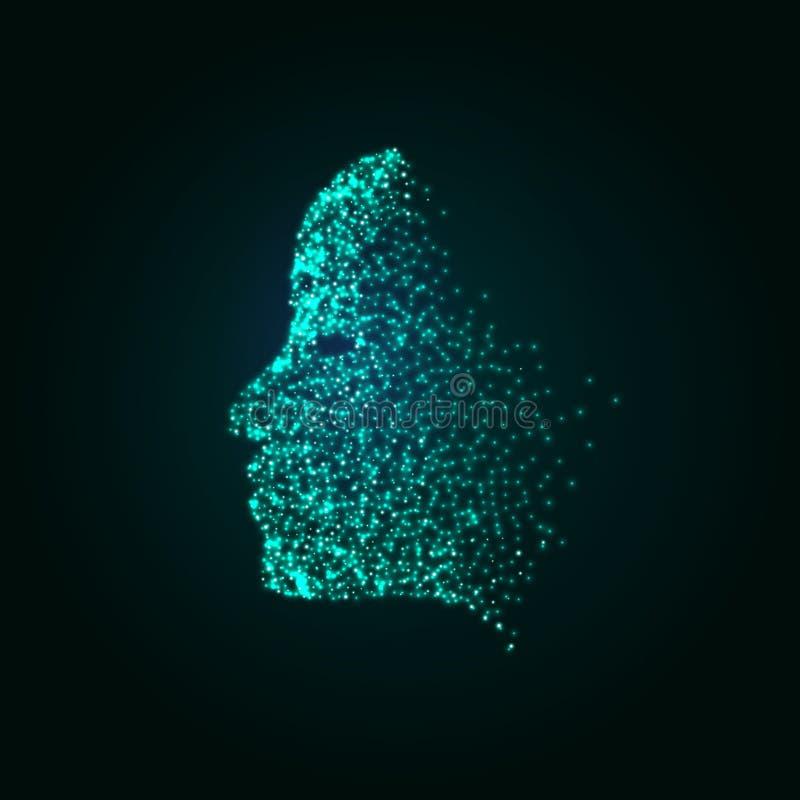 Fundo do conceito da tecnologia das partículas da cara de Digitas Máquina da inteligência artificial que lerning Ser humano virtu ilustração royalty free