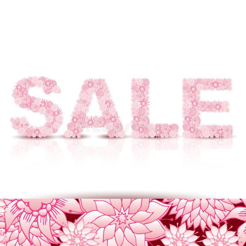 Fundo do conceito da venda VENDA da palavra feita de flores cor-de-rosa ilustração royalty free