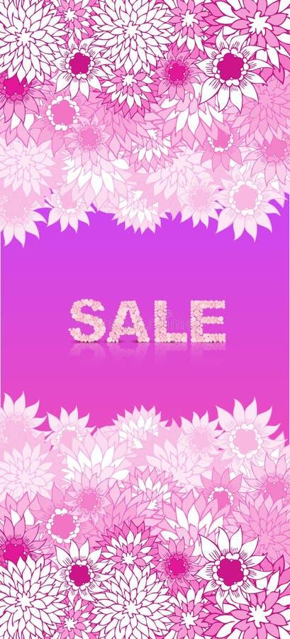 Fundo do conceito da venda VENDA da palavra feita de flores cor-de-rosa ilustração do vetor
