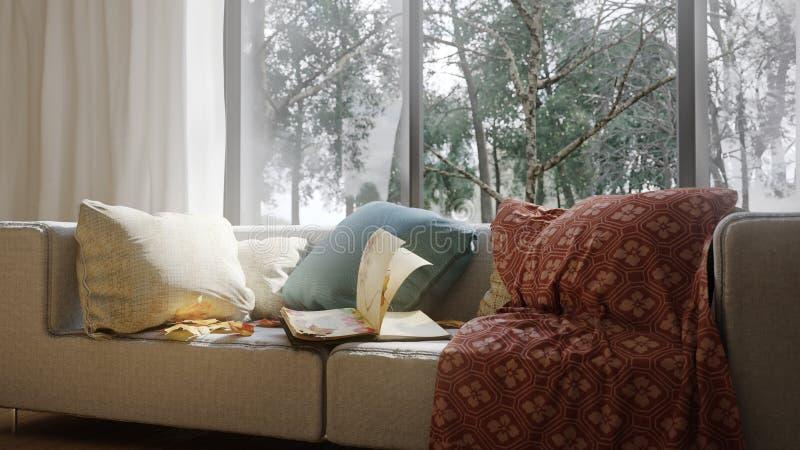 Fundo do conceito das férias com elementos interiores fotografia de stock royalty free