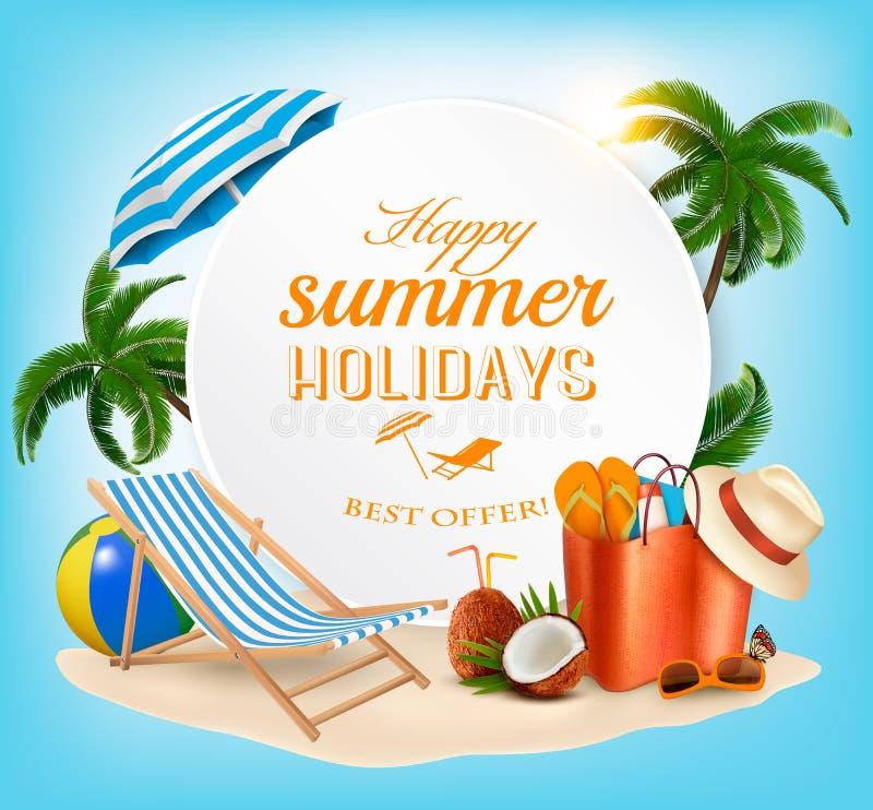Fundo do conceito das férias de verão ilustração stock