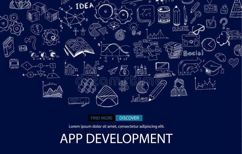 Fundo do conceito de Infpgraphic do desenvolvimento do App com estilo do projeto da garatuja: interfaces de utilizador ilustração stock