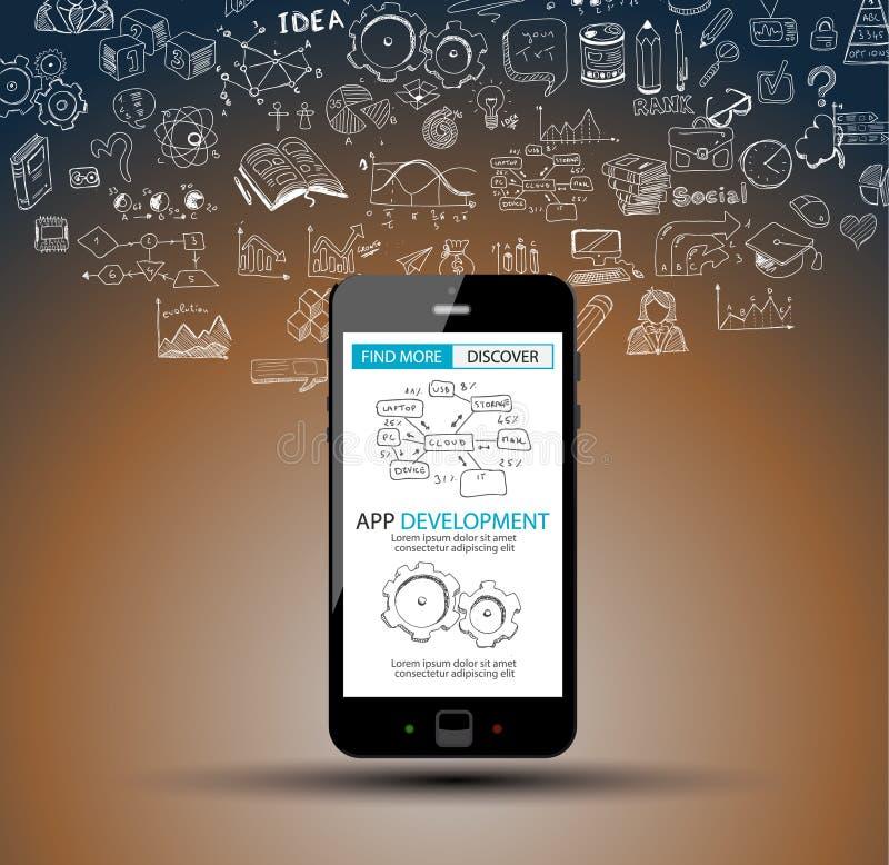 Fundo do conceito de Infpgraphic do desenvolvimento do App com estilo do projeto da garatuja: interfaces de utilizador ilustração royalty free