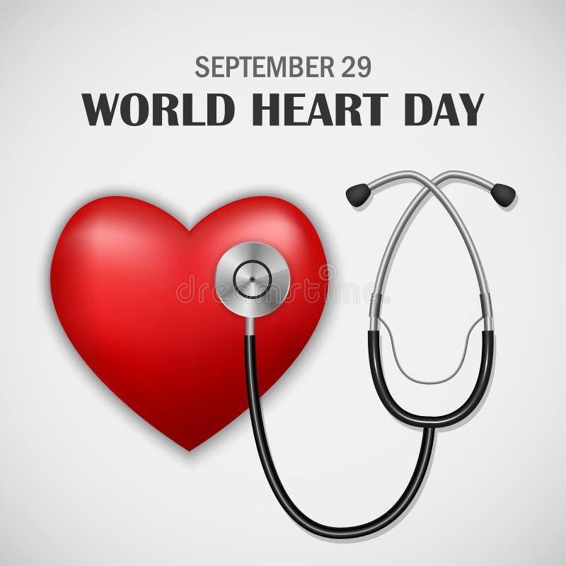 Fundo do conceito do dia do coração do mundo, estilo realístico ilustração stock