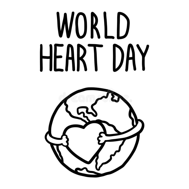 Fundo do conceito do dia do coração do mundo, estilo tirado mão ilustração stock