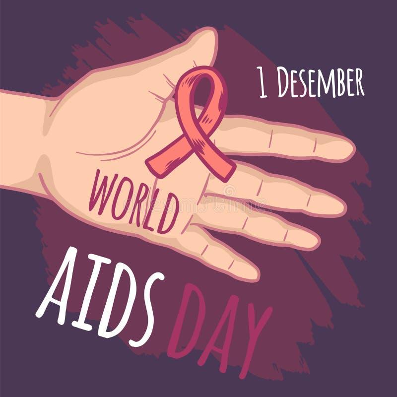 Fundo do conceito do Dia Mundial do Sida de dezembro, estilo tirado mão ilustração royalty free