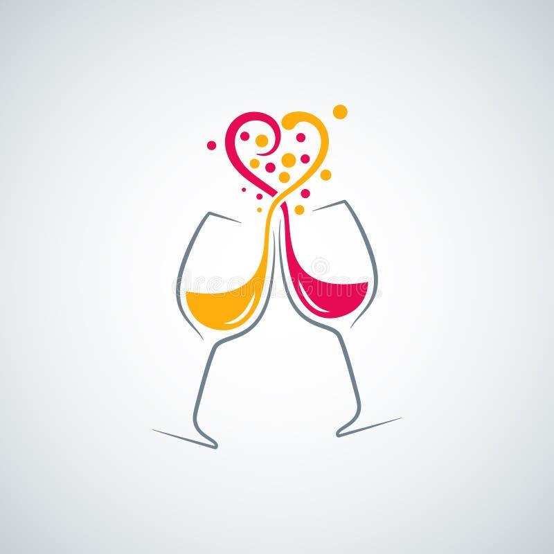 Fundo do conceito do amor do vinho vermelho e branco ilustração do vetor