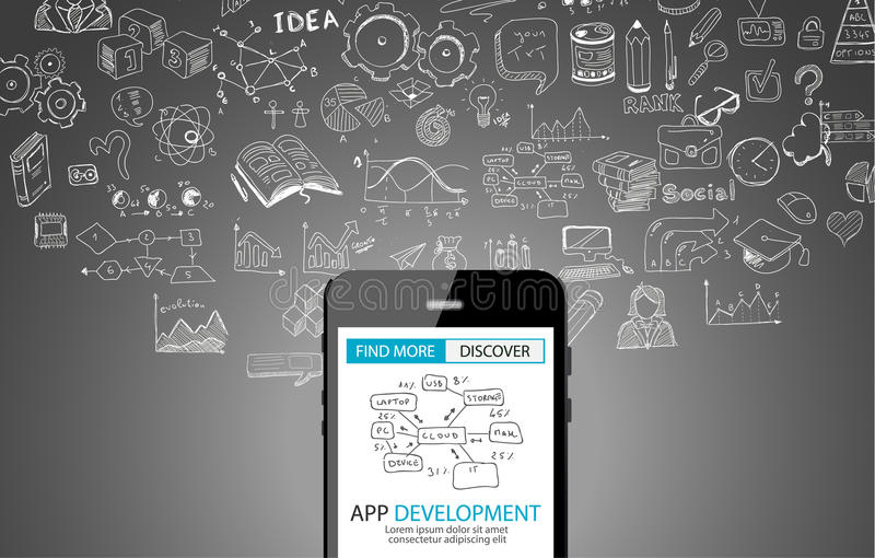 Fundo do conceito do desenvolvimento do App com estilo do projeto da garatuja ilustração do vetor