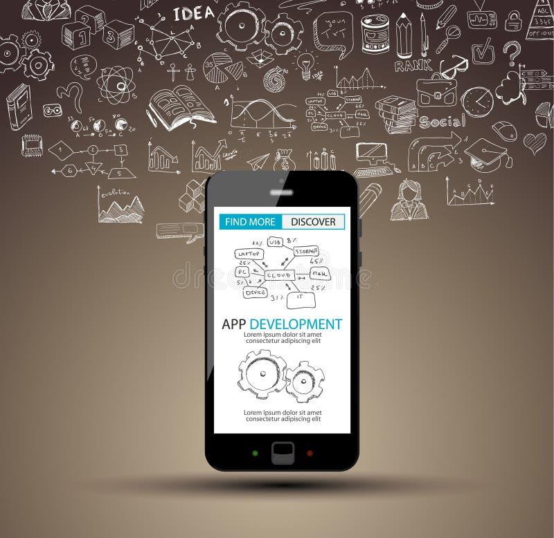 Fundo do conceito do desenvolvimento do App com estilo do projeto da garatuja ilustração stock