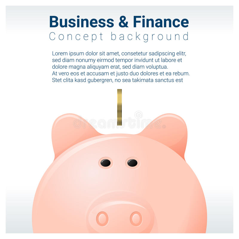 Fundo do conceito do negócio e da finança com mealheiro ilustração do vetor