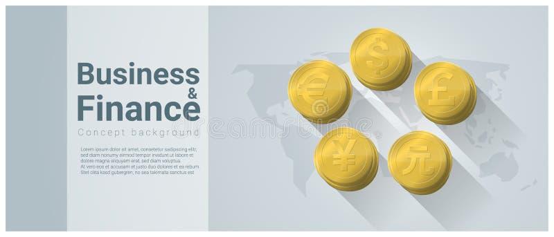 Fundo do conceito do negócio e da finança com moedas principais no mapa do mundo ilustração royalty free