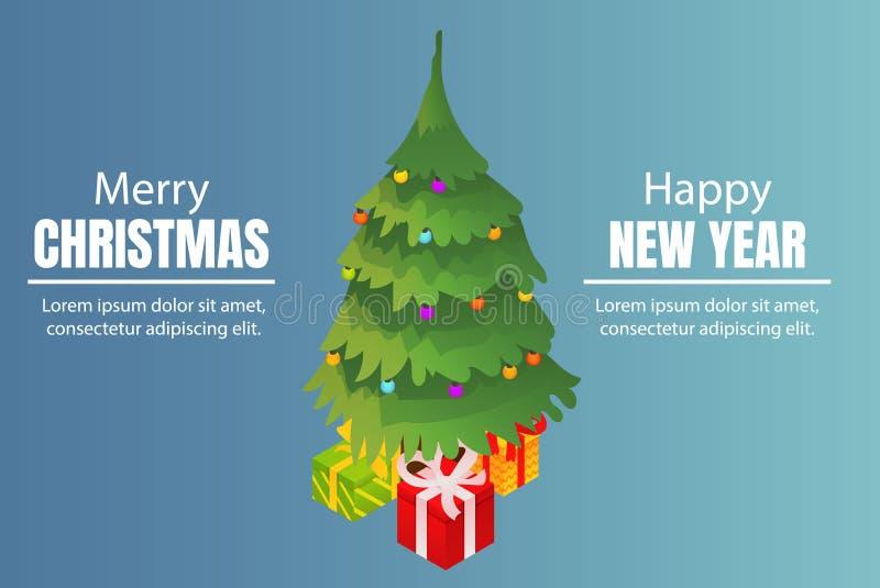 Fundo do conceito do Feliz Natal e do ano novo feliz, estilo isométrico ilustração do vetor