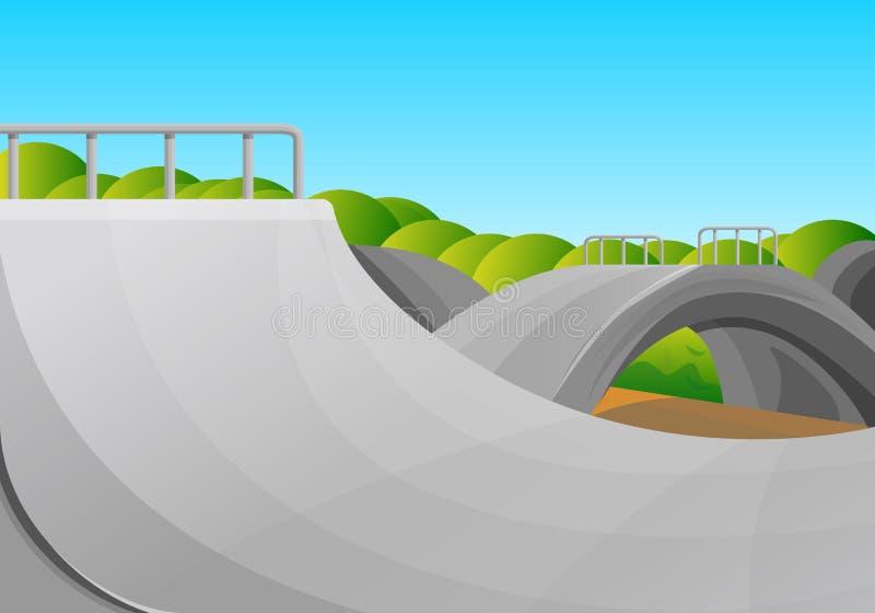 Fundo do conceito do parque do patim do dia ensolarado, estilo dos desenhos animados ilustração stock