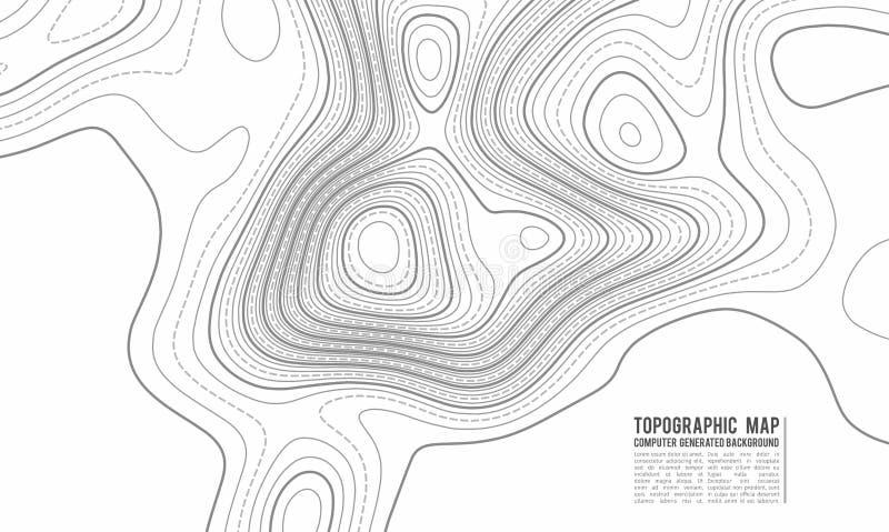 Fundo do contorno do mapa topográfico Mapa do Topo com elevação Vetor do mapa de contorno Grade geográfica do mapa da topografia  ilustração do vetor