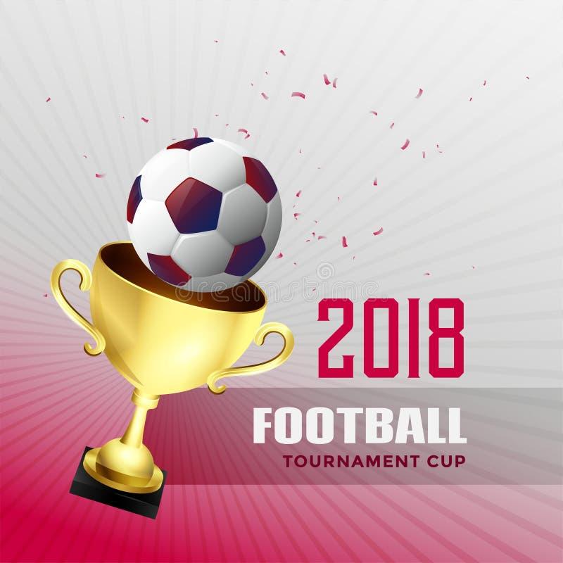 fundo 2018 do copo do campeonato mundial do futebol com trop dourado ilustração stock