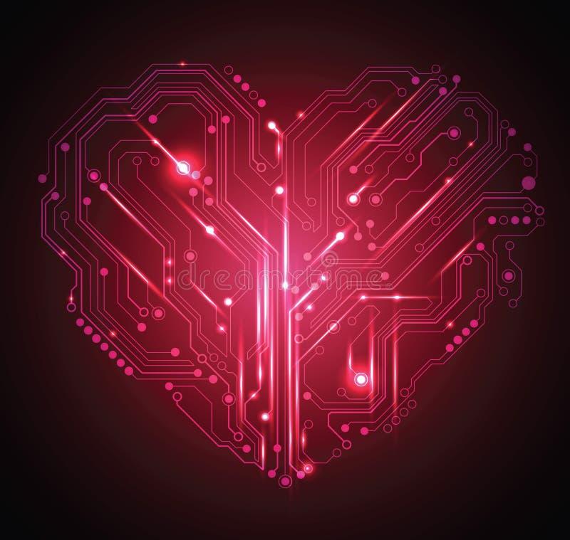 Fundo do coração da placa de circuito ilustração do vetor