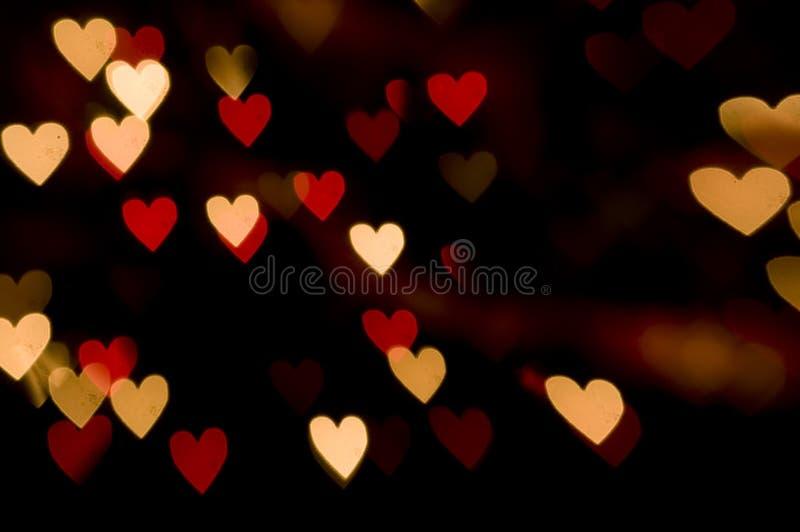 Fundo do coração das luzes vermelhas imagem de stock royalty free