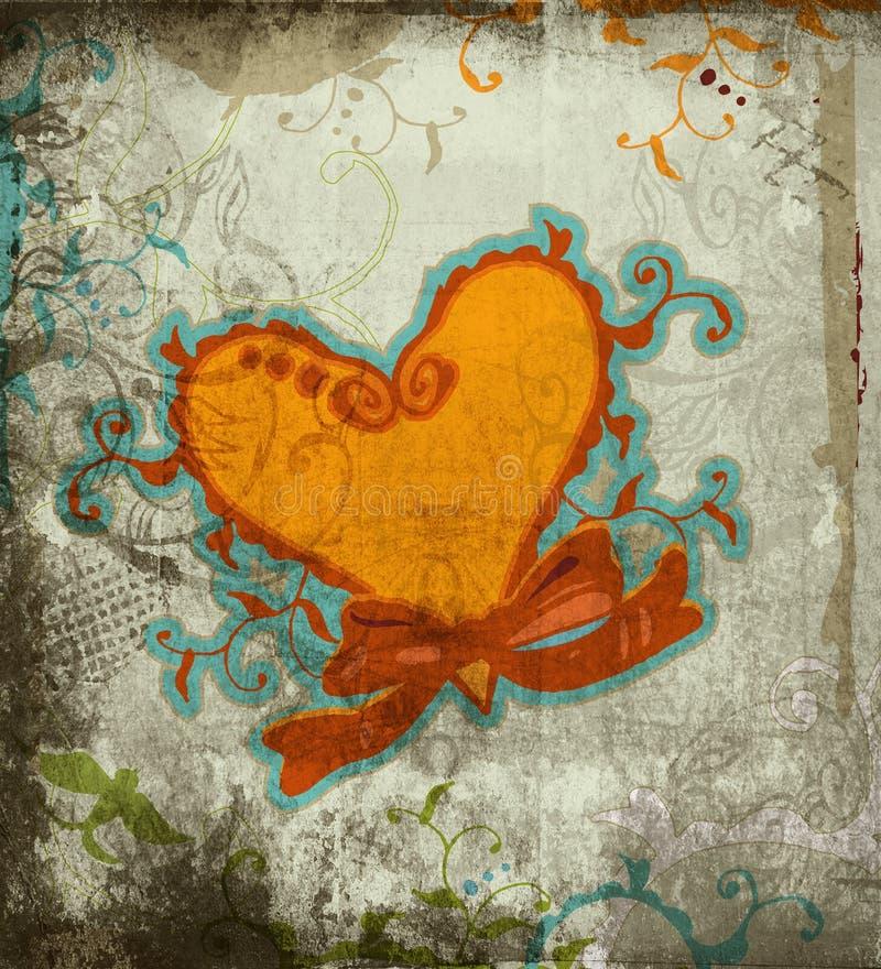 Fundo do coração de Grunge ilustração royalty free