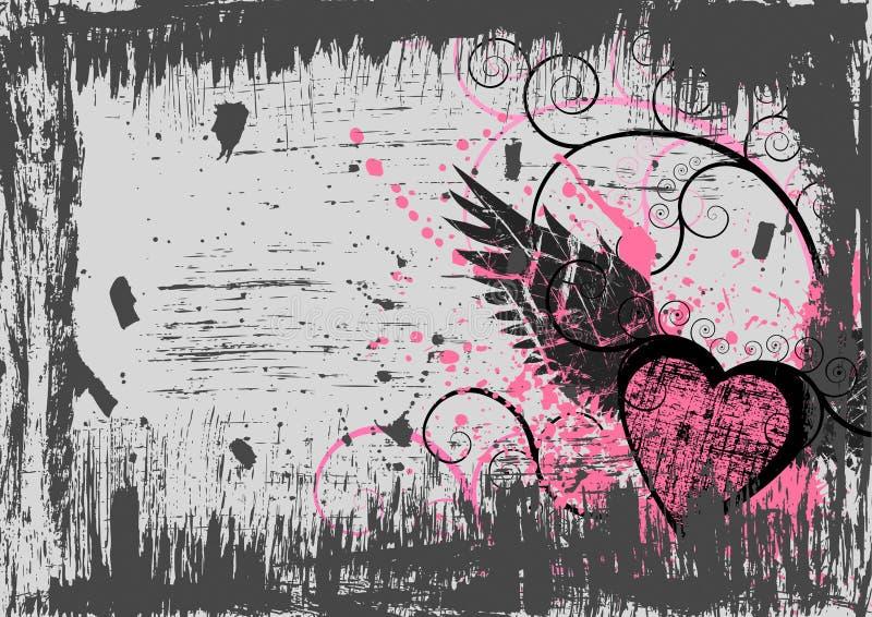 Fundo do coração de Grunge ilustração do vetor