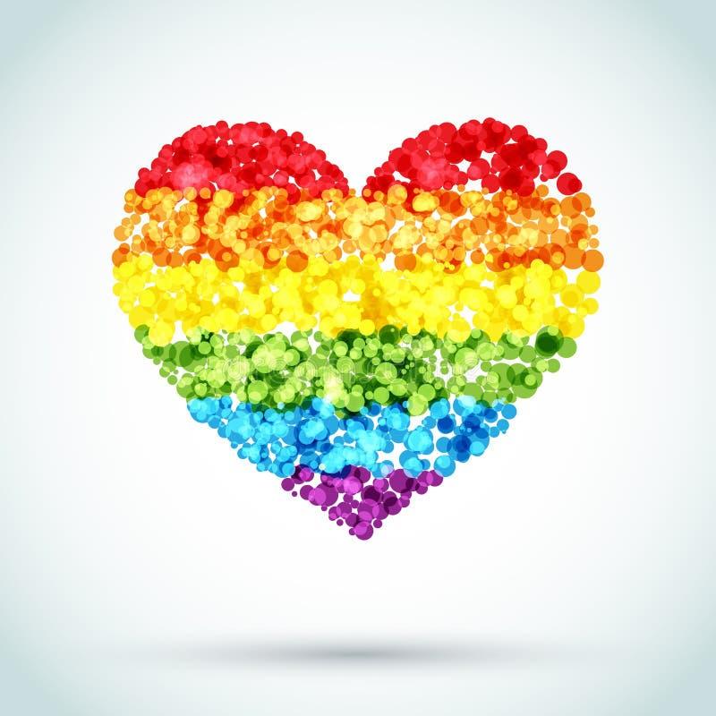 Fundo do coração LGBT do botão do arco-íris ilustração royalty free