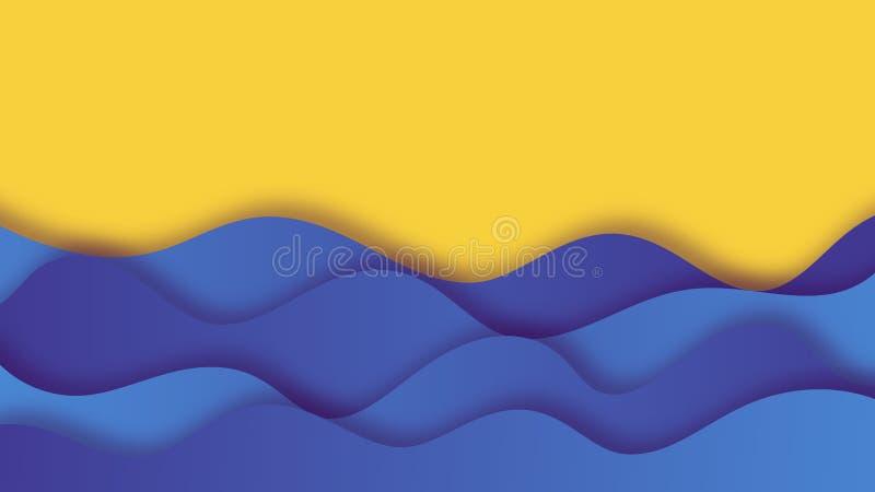 Fundo do corte do papel com ondas do mar ilustração stock