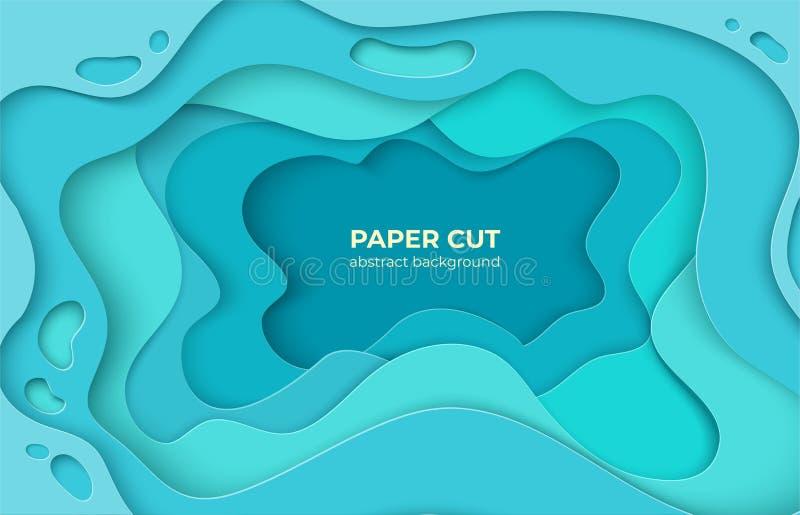 Fundo do corte do papel formas de onda mínimas da água 3D, ondas de oceano abstratas do origâmi Decoração da cor do vetor para o  ilustração royalty free