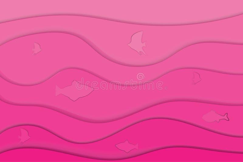 Fundo do corte do papel A transição da luz - rosa ao rosa escuro Peixes em um fundo colorido ilustração royalty free