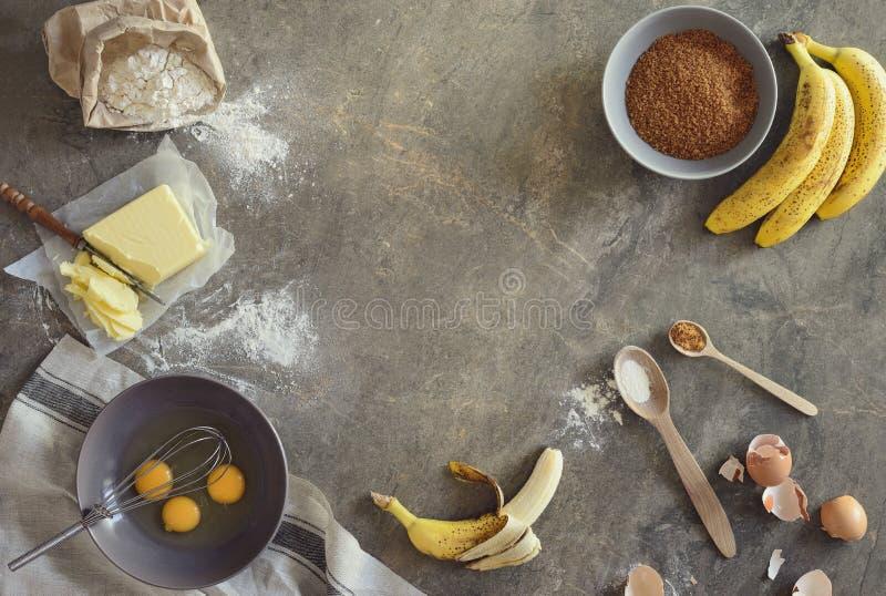 Fundo do cozimento do pão de banana fotografia de stock royalty free