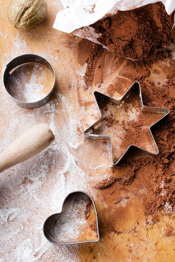 Fundo do cozimento - preparando cookies, imagens de stock