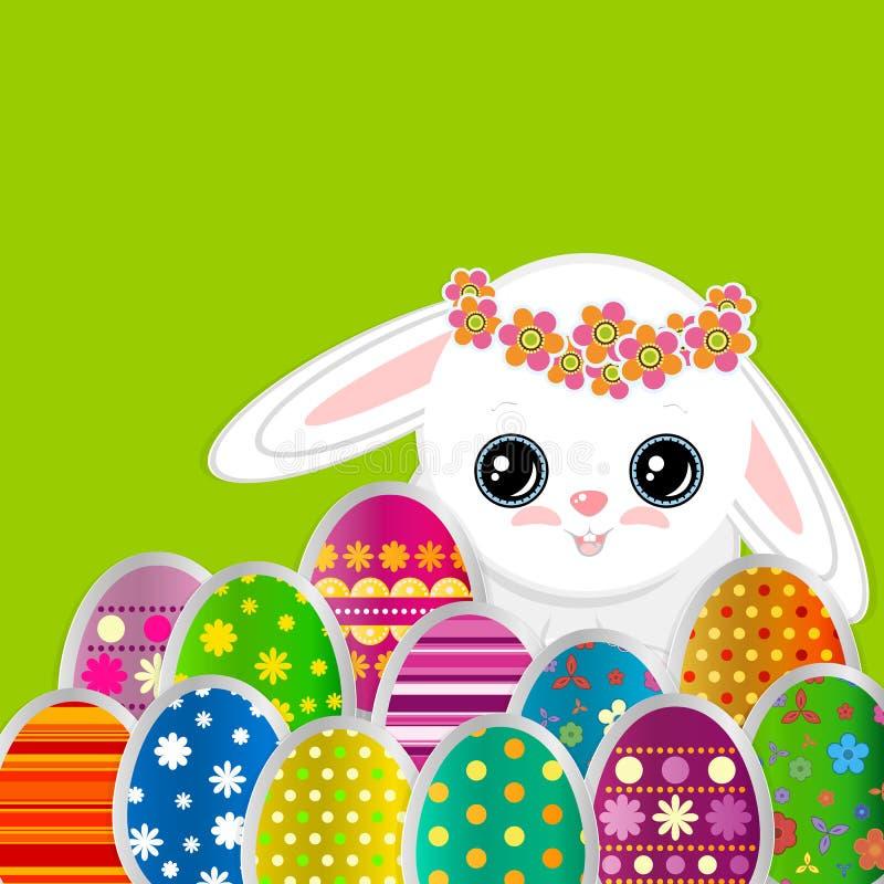 Fundo do cumprimento da mola com ovos da p?scoa e um coelho branco pequeno bonito Imagens de papel festivas de ovos e do coelho d ilustração royalty free