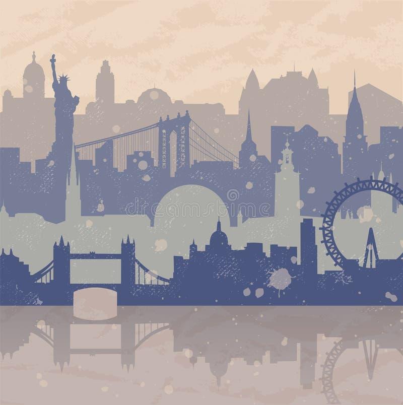 Fundo do curso com cidades diferentes ilustração royalty free