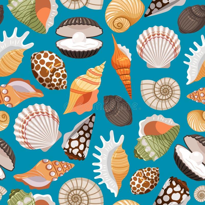 Fundo do curso com shell do mar ilustração stock
