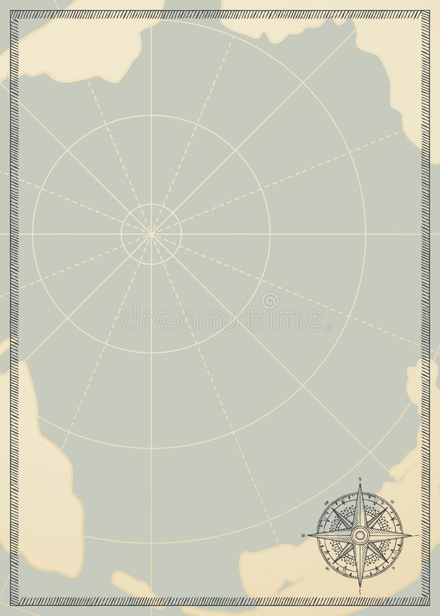 Fundo do curso com um mapa cor-de-rosa e velho do vento ilustração stock