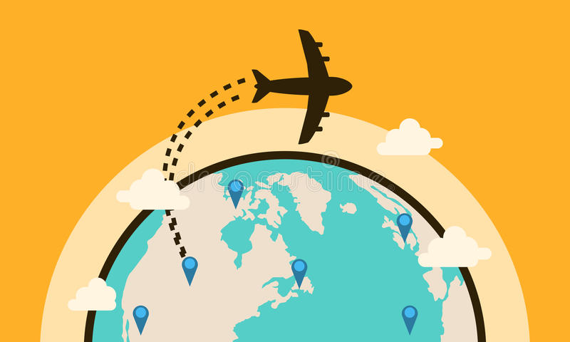 Fundo do curso da coleção com avião ilustração stock