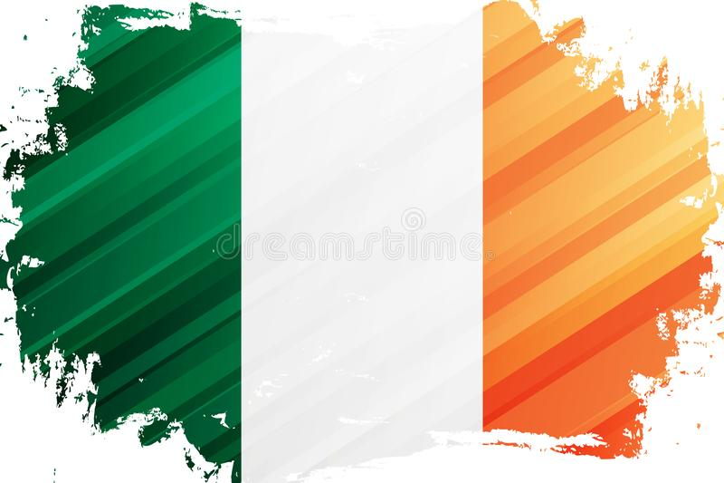 Fundo do curso da escova da bandeira da Irlanda Bandeira nacional da República da Irlanda ilustração do vetor