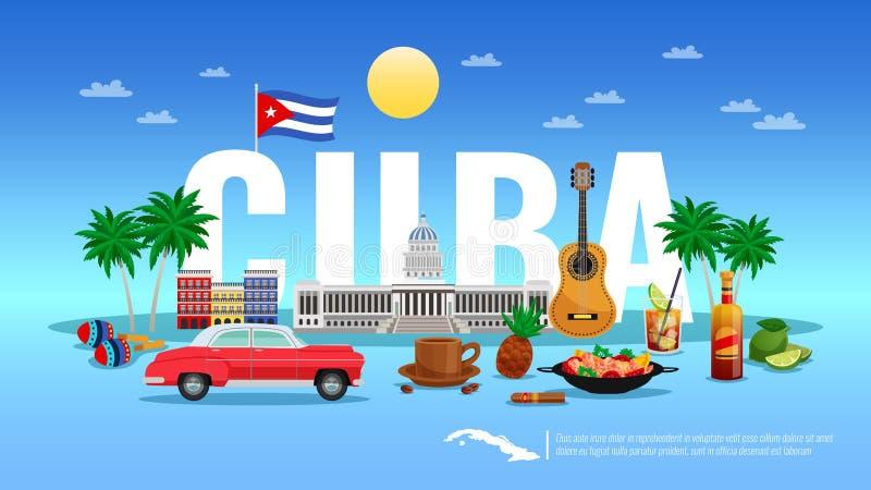Fundo do curso de Cuba ilustração royalty free