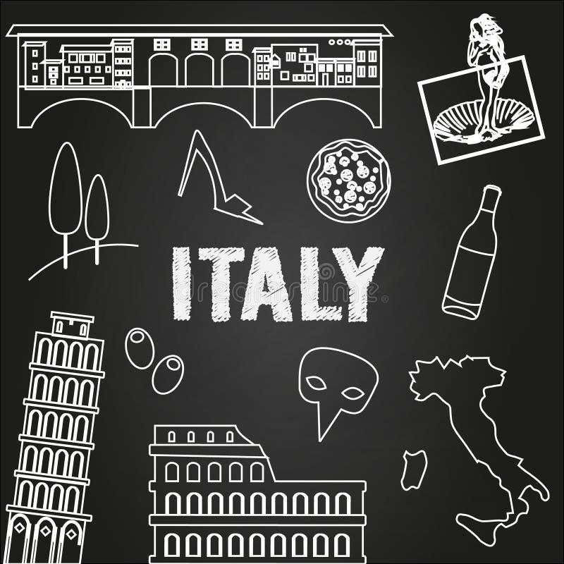 Fundo do curso de Itália Lugares e símbolos famosos de Itália no quadro Ícones do esboço ilustração stock
