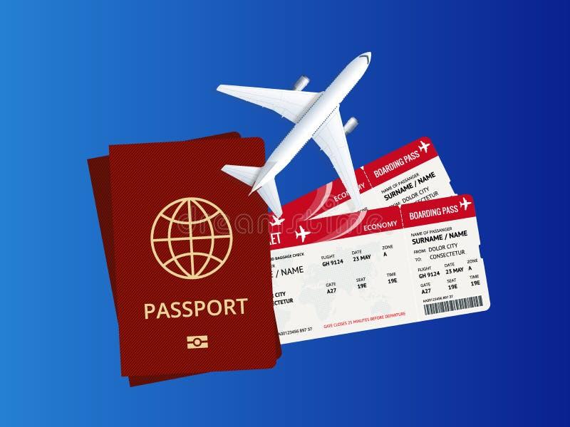 Fundo do curso e do turismo Bilhetes em linha de compra ou de registro O curso, negócio migra no mundo inteiro Mundo da viagem aé ilustração royalty free
