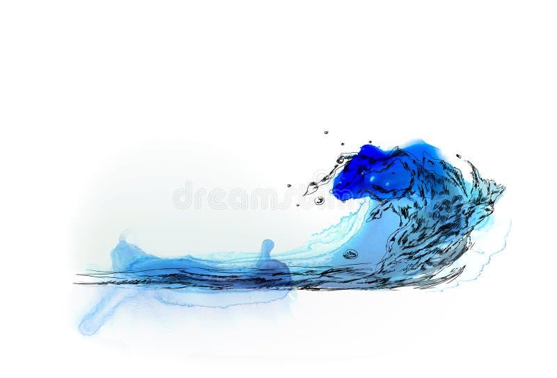 Fundo do desenho da mão do respingo da água Esboço com efeitos coloridos da cor de água ilustração do vetor