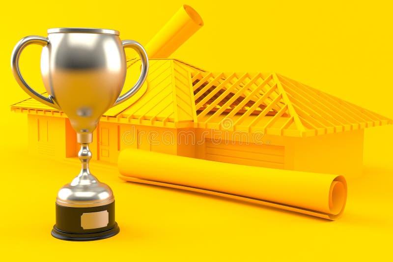 Fundo do desenvolvimento da casa com troféu ilustração do vetor