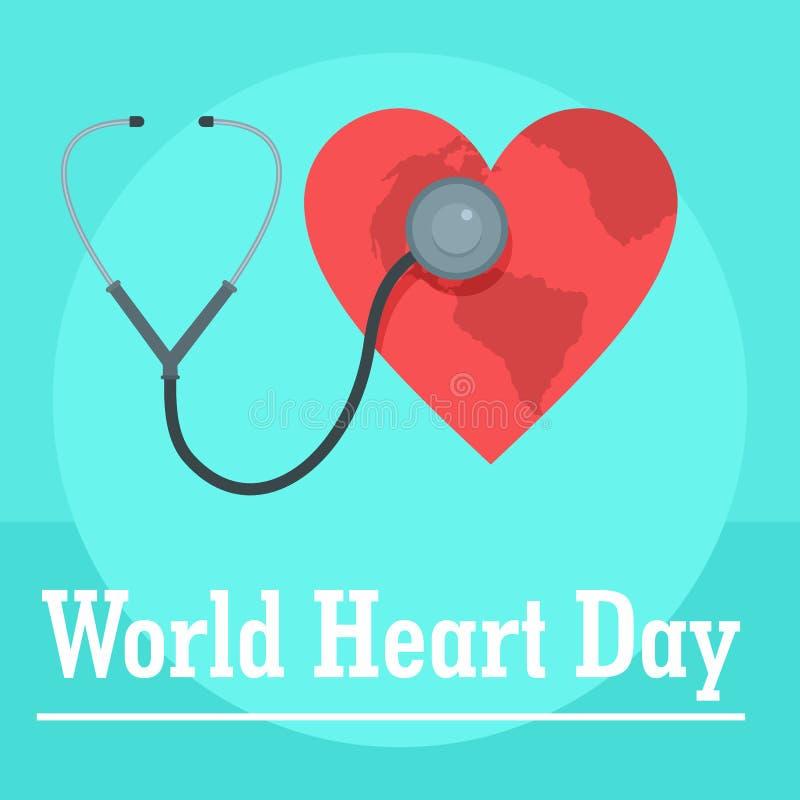 Fundo do dia do coração do mundo, estilo liso ilustração do vetor