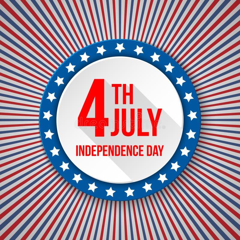 Fundo do Dia da Independência dos EUA 4 de julho celebração nacional Molde patriótico com texto, listras e estrelas para ilustração stock