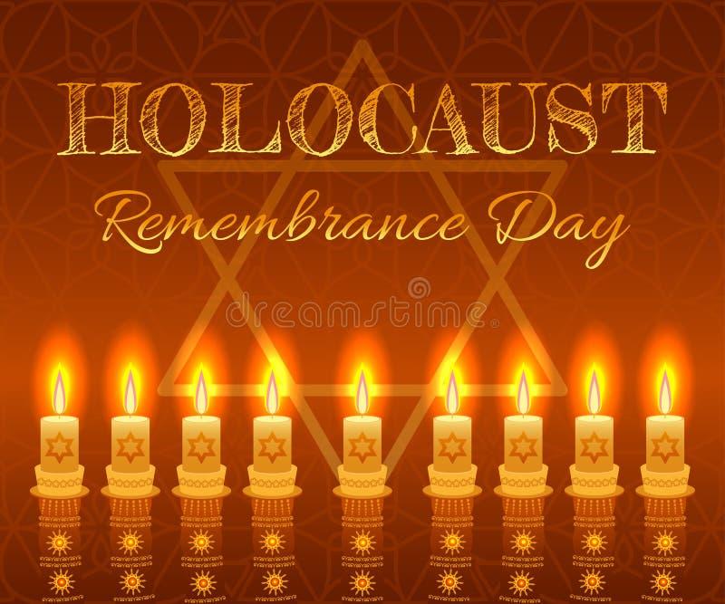 Fundo do dia da relembrança do holocausto Estrela das velas, do David e joias ilustração royalty free