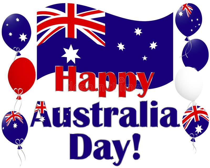 Fundo do dia de Austrália com os balões da bandeira de Austrália. ilustração stock