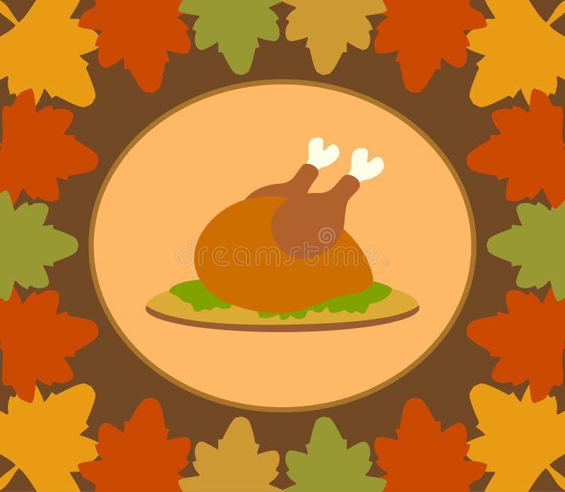 Fundo do dia de Autumn Thanksgiving com a Turquia cozinhada ilustração stock