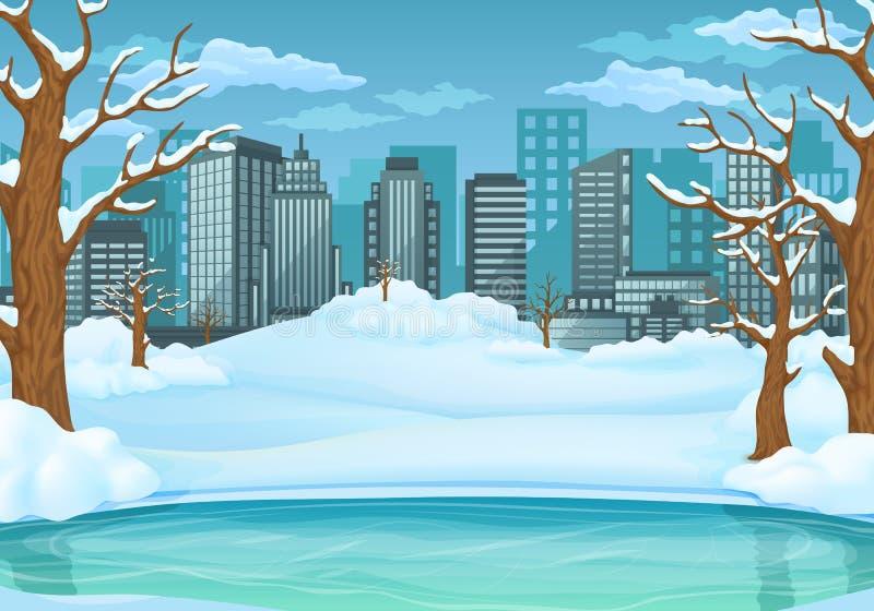 Fundo do dia de inverno Lago ou rio congelado com as árvores leafless cobertos de neve e os arbustos arquitectura da cidade no fu ilustração do vetor