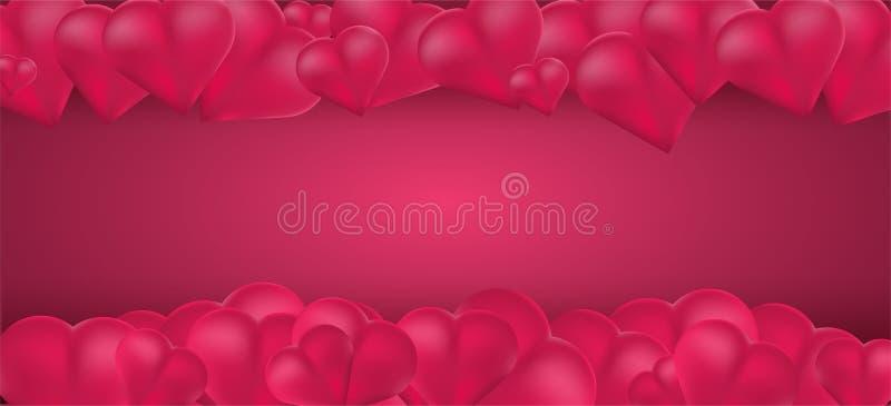 fundo do dia de são valentim com coração dos balões 3d e espaço vazio para seu texto Ilustração do vetor ilustração do vetor