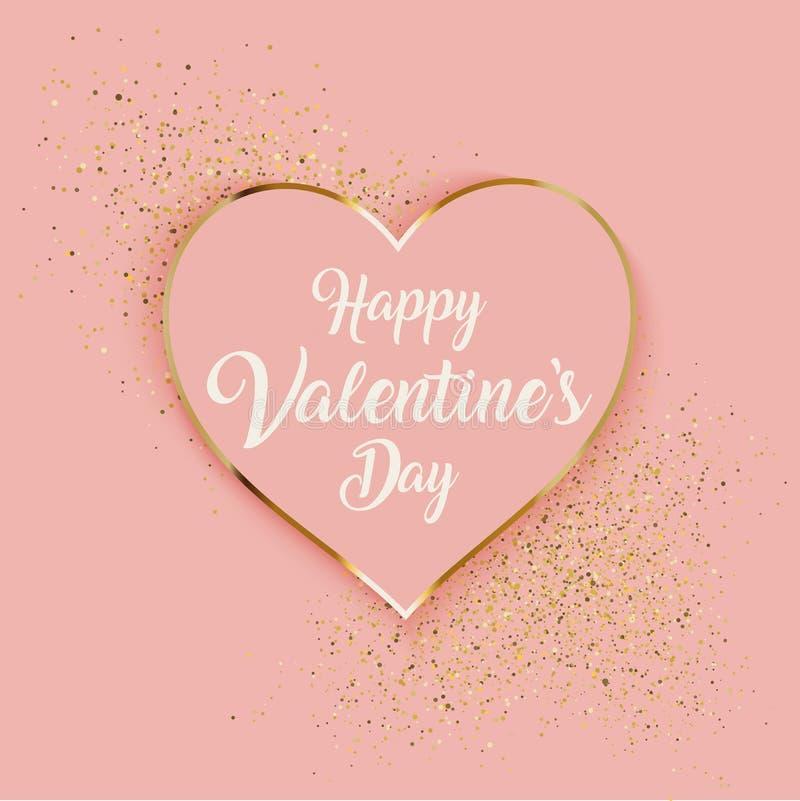 Fundo do dia de Valentim com brilho do coração e do ouro ilustração do vetor